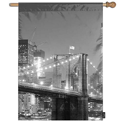 Mugod Brooklyn Bridge Garden Flag New York City Black and White with Downtown Skyline Over East River Decorative Spring Summer Outdoor House Flag for Garden Yard Lawn 28 x 40 Inch]()