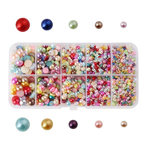 DIY Art Mixed Color Half Round Pearl Bead Flat Back Scrapbook for Craft DIY Gift Making Nail Craft DIY Decoration 3-8mm Size Mixed ()