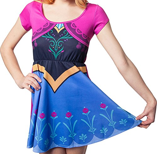[Disney Frozen I Am Anna Costume Womens Skater Dress (M/L)] (Frozen Costumes Women)