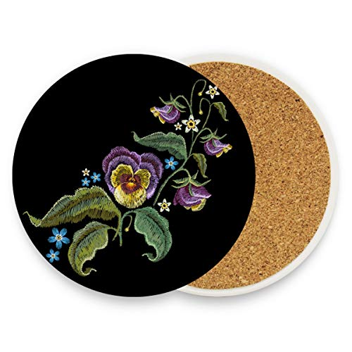 Flower Leaf Embroidery Coasters, Protection for Granite, Glass, Soapstone, Sandstone, Marble, Stone Table - Perfect Drink Coasters,Round Cup Mat Pad for Home, Kitchen or Bar 1 piece