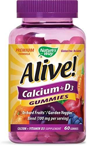 Nature's Way Alive! Premium Calcium + D3 Gummy + Orchard Fruits/Garden Veggies Blend (100 mg per serving), 60 Cherry & Strawberry Gummies