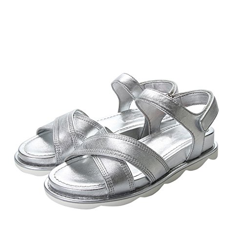 Xing Lin Ladies Sandals Sandals Women Platform New Shoes Wild Velcro Non-Slip Casual Sports Flat Shoes Silver