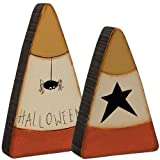 2 Pc Halloween Spider Star Candy Corn Set - Primitive Country Fall Wood Shelf Sitters