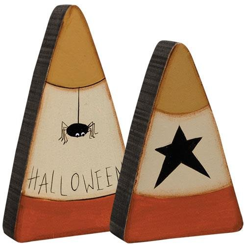 Primitive Halloween Decorations (2 Pc Halloween Spider Star Candy Corn Set - Primitive Country Fall Wood Shelf)