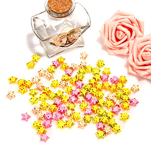 Sun Goodtimes 100pcs Origami Paper Lucky Wish Stars Finished Products for Kids, Friends, Lovers Handmade Gifts (Mixed Color)