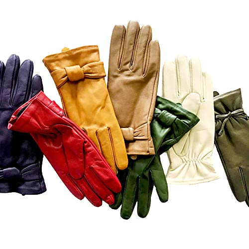 Leather Gloves For Winter Warm Lambskin Gloves 100% Thermal Lining Pure Warm Fur Heated Dress Driving Motorcycle Work Luxury Suit For Daily Wears Rose Taupe 7.5