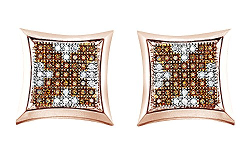 White & Brown Real Diamond Hip Hop Cluster Stud Earrings 14K Solid Rose Gold (0.65 Cttw) by wishrocks