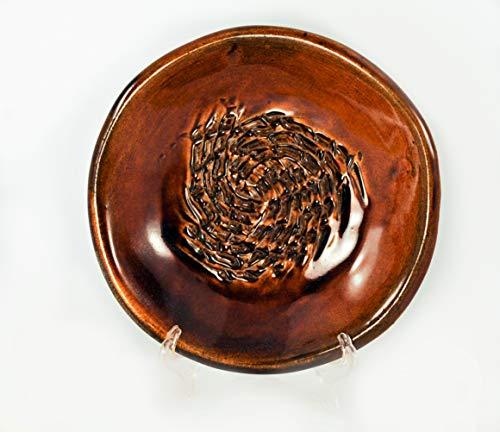 Plate Grating (Handmade Ceramic Garlic Grater Plate - Deep Brown Glaze Dish - 5 1/4