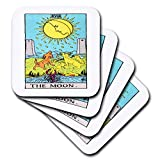 3dRose cst 62441 3 Tarot The Moon Card-Ceramic Tile Coasters, Set of 4