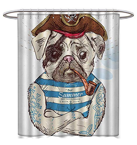 Anhuthree Pug Shower Curtains Waterproof Pirate Pug Conqueror of The Seas Pipe Skulls and Bones Hat Striped Sleeveless T-Shirt Bathroom Set with Hooks W69 x L84 Brown Blue