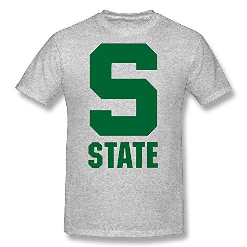 Memoy Men's Michigan S Logo State University T-shirt Summer XXL Gray]()
