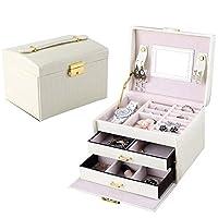 NEOTEND Leather Jewelry Box Storage Organizer with Travel Case and Lock
