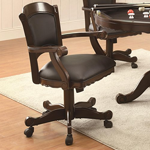 Coaster Casual Tobacco Turk Game Arm Chair with Black Uphols