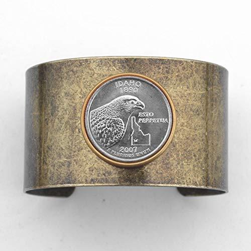 US 2007 Idaho State Quarter BU Uncirculated Coin Solid Brass Antique Finish Cuff Bangle Bracelet