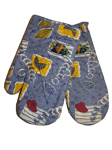 Sea Life Fish Shells Ocean Blue Oven Mitt Mitten (Includes 2 Mittens) PREMIUM Vivid Color and UV Fade BEST Garden Outdor Decor Resistant Canvas Header and polyester material FLAG
