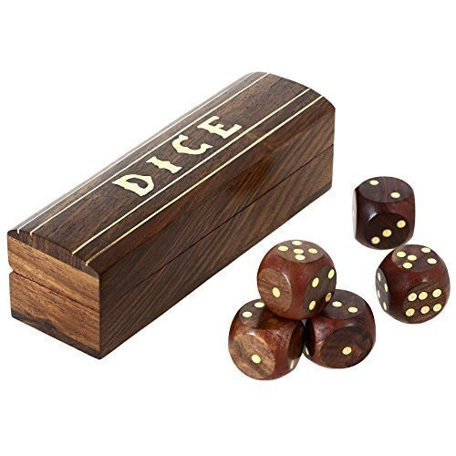 (Indian Game Wooden Dice Set In A Box Brass Inlay Art 5.25 X 1.5 Inch by ShalinIndia)