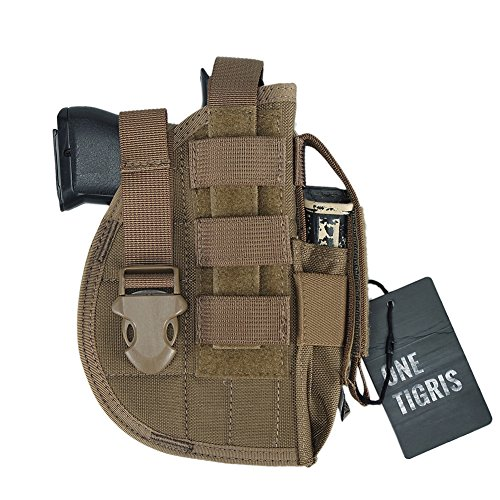 (OneTigris Pistol Holster with Mag Pouch, Tactical Molle Belt Holster for Right Handed Shooters Fits Glock 1911 45 92 96 New Design Version)