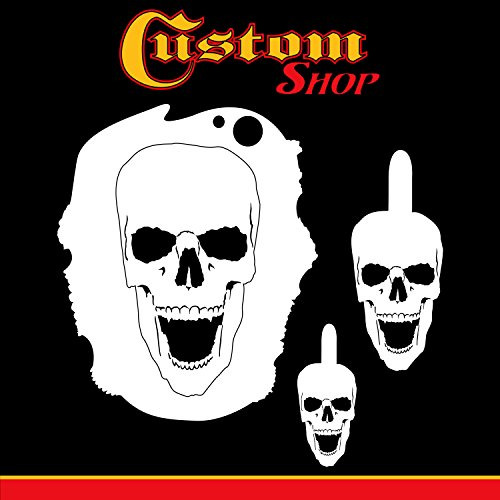 Custom Shop Airbrush Stencil Skull Design Set #3 (3 Different Scale Sizes) - 3 Laser Cut Reusable Templates - Auto, Motorcycle Graphic Art (Airbrush Skull Stencils Reusable)