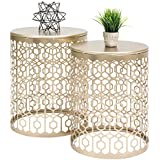 Best Choice Products Set of 2 Indoor Outdoor Decorative Nesting Round Side End Accent Coffee Table Nightstands for Bedroom, Living Room, Patio, Balcony - Gold