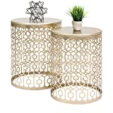 Cheap Best Choice Products Set of 2 Indoor Outdoor Decorative Nesting Round Side End Accent Coffee Table Nightstands – Gold