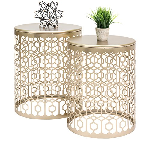 Round Nesting Accent Tables, Geometric Detail Decorative Nightstands, Side, End Tables – Set of 2 – Gold ()