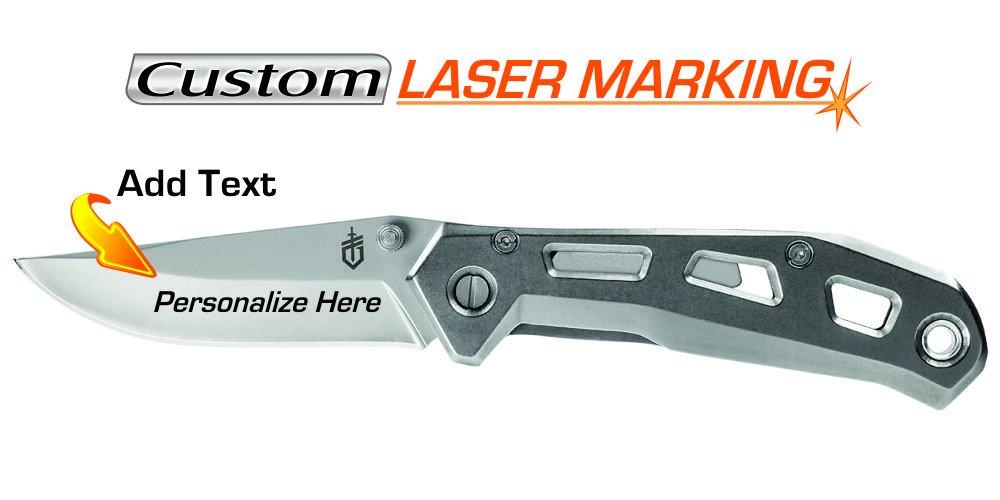 Custom Laser Engraved Knife - Gerber Airlift Silver (30-001346)