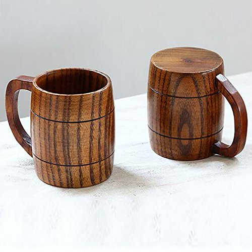 Justdolife 5PCS Wood Mug Beer Cup Handmade Natural Wooden Water Cup for Wine Coffee Tea by Justdolife (Image #4)
