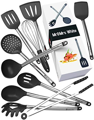 Steel Utensil Stainless (Kitchen Utensil Set - 10 Cooking Utensils - Nonstick Silicone and Stainless Steel Spatula Set - Best Kitchen Tools for Gift)