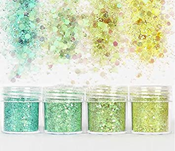 Beauty Makeup 4 Boxes Hybrid Sequins Glitter Round Colorful Glitter Pots for Face Body Nail Eye Shadow Diamond Shimmer Sparkling Decoration Glitter Hair and Nails -H01 Beauty Glazed