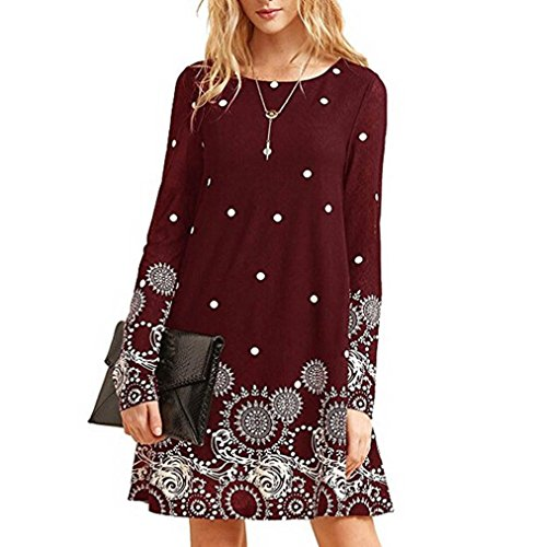 Manxivoo Women's Long Sleeve Floral Print Casual Dress O-Neck A Line Tunic Blouse Dress (Wine, ()
