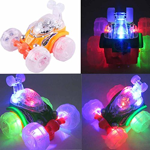 HANYI 360° Spinning Rotation And Flips With Color Flash Light & Music Electric Car Vehicles - Best Developmental Christmas Gift for Toddler Kids (Random) (Card Finder Magic Trick)