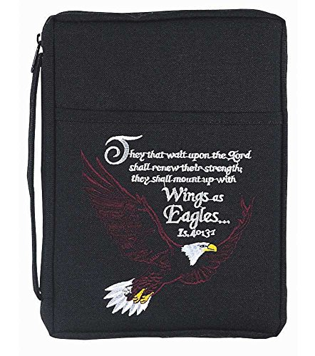 Black Bald Eagle Embroidered Polyester Bible Cover Case with Handle, X-Large