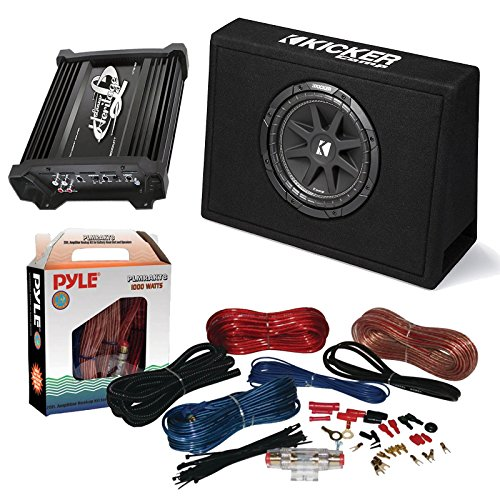 "Car Subwoofer And Amp Combo: Kicker 10TC104 Comp 10"" 300W Audio Subwoofer Bundle With Lanzar HTG137 2000W Mono Block Mosfet Stereo Amplifier + Pyle PLMRAKT8 8 Gauge Marine Amplifier Installation Kit - Kicker Sub Stereo Audio Amp"