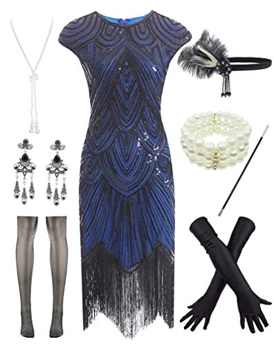 Women 1920s Vintage Flapper Fringe Beaded Gatsby Party Dress with 20s Accessories Set Black Blue]()