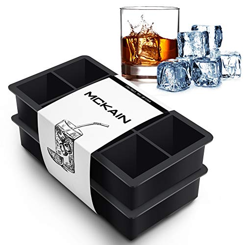 McKain Ice Cube Trays Silicone Square Flexible Ice Cube Molds Whiskey Ice Cube Maker for Cocktails, Bourbon, Keep Drinks Chilled - Reusable & BPA Free (Set of 2) (Ice Square Cube)