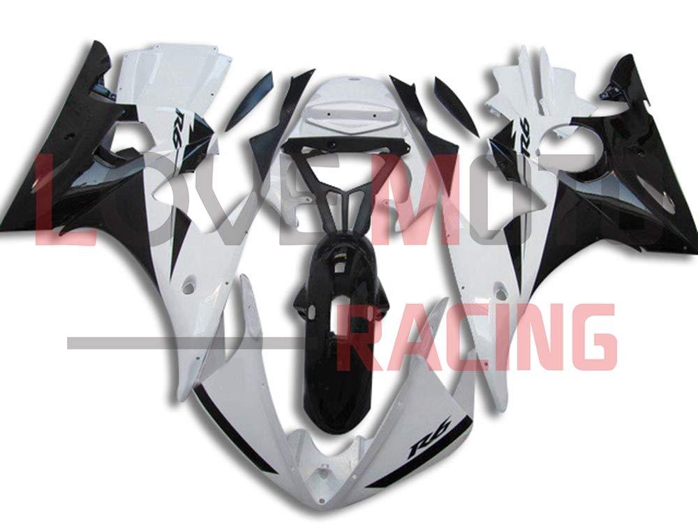 LoveMoto ブルー/イエローフェアリング ヤマハ yamaha YZF-600 R6 2003 2004 03 04 YZF 600 ABS射出成型プラスチックオートバイフェアリングセットのキット ホワイト ブラック   B07KKBW6YF