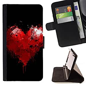 DEVIL CASE - FOR Samsung Galaxy Note 4 IV - Residual heart - Style PU Leather Case Wallet Flip Stand Flap Closure Cover