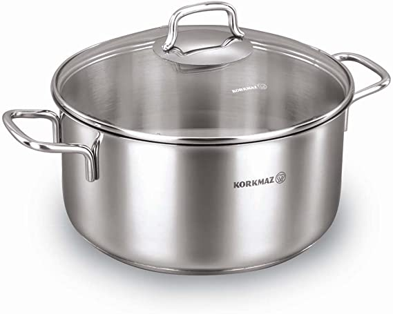 وعاء طهي ستانلس ستيل فضي من كوركماز سعة 3.5 لتر – A1655