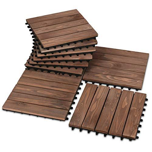 NanaPluz 44Pack Garden Deck Patio Pavers Floor Interlocking Wood Patio Tiles 12″ x 12″ Brown with Ebook