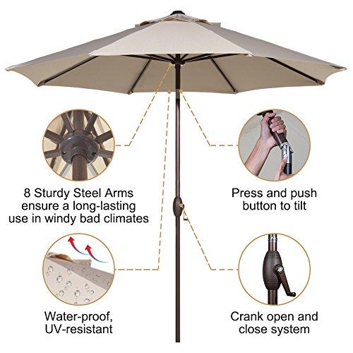 Abba Patio Outdoor Patio Umbrella 9 Feet Patio Market Table Umbrella with Push Button Tilt and Crank, Beige by Abba Patio (Image #3)
