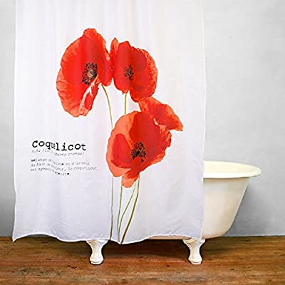 "Get Orange Vintage Red Poppy Flower Polyester Fabric Shower Curtain 72"" x 79""-with 12 Stainless Steel Hooks"