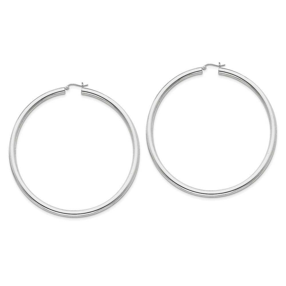 Designs by Nathan 925 Sterling Silver Classic Seamless Tube Hoop Earrings, Choice of Sizes (Wide 4mm x 80mm (about 3 1/8'')) by Designs by Nathan