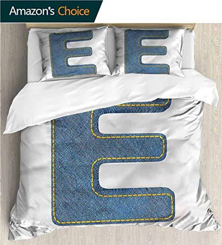 - carmaxs-home Bedding Bedspread,Box Stitched,Soft,Breathable,Hypoallergenic,Fade Resistant Colorful Floral Print -3 Pieces-Letter E Denim Blue Jeans E (90