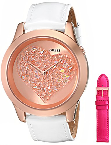 Guess Pink Leather Strap - GUESS Women's U0528L1 Interchangeable Wardrobe Rose Gold-Tone Heart Watch Set with Genuine Leather Straps in White & Pink