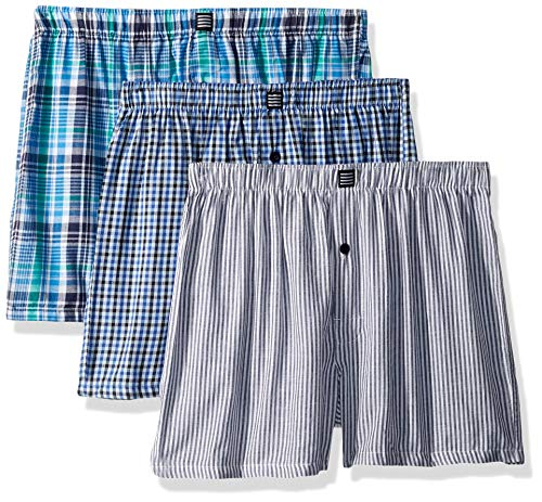 Geoffrey Beene Men's 3 Pack Soft Finish Assorted Boxers, Gingham/Stripe/Light Blue, ()