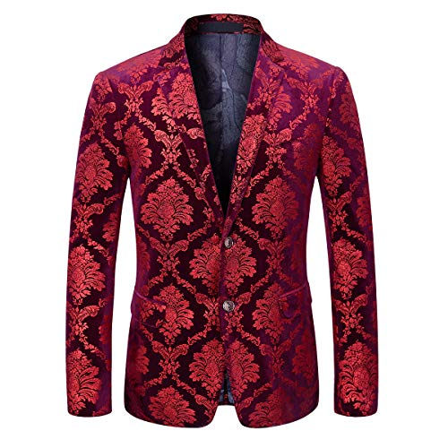 Boyland Men's Dress Suit Jacket Luxury Jacquard Notched Lapel Floral Blazer Formal Dress Prom Red (Coat Dress Jacquard)