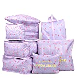 Vercord 7 Set Travel Packing Organizers Cubes Mesh Luggage Cloth Bag Cubes With Bra/Underwear Cube and Shoe Pouch, 2 Purple Cherry