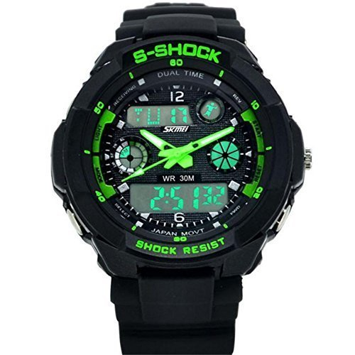 Waterproof Digital LED Multi-function Military Sports Watch Green - 4