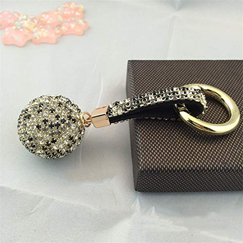 Rhinestone High Leather Strap Crystal Ball Car Keychain Charm Pendant Key Ring for Women
