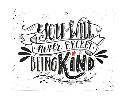 Lunarable Vintage Tapestry, You Will Never Regret Being Kind Hand Drawn Lettering Inspirational, Fabric Wall Hanging Decor for Bedroom Living Room Dorm, 28 W X 23 L inches,Charcoal Grey White